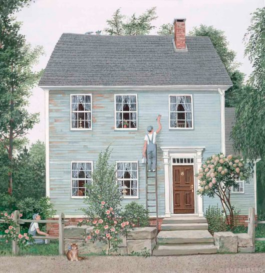 A lovely old house and coordinating workmen, seen on Cape Cod. Pretty hydrangeas, too!